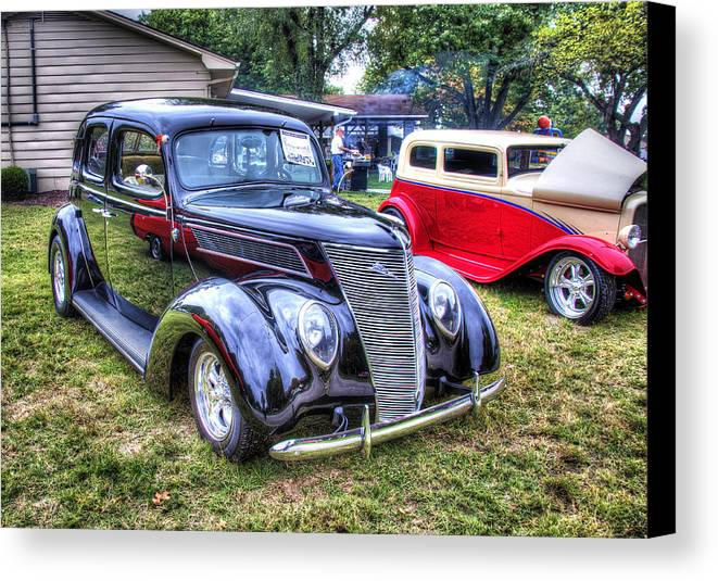 Car Canvas Print featuring the photograph Classic Black Ford by John Derby