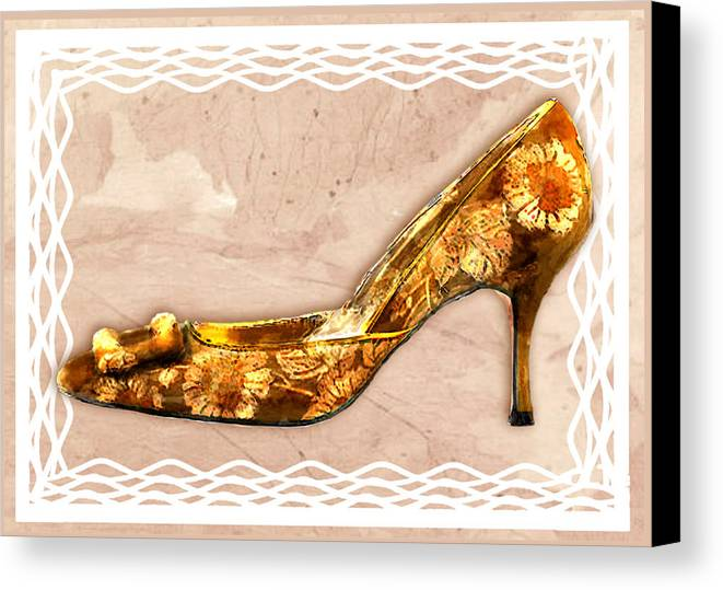 Shoes Heels Pumps Fashion Designer Feet Foot Shoe Stilettos Painting Paintings Illustration Illustrations Sketch Sketches Drawing Drawings Pump Stiletto Fetish Designer Fashion Boot Boots Footwear Sandal Sandals High+heels High+heel Women's+shoes Graphic Sophisticated Elegant Modern Canvas Print featuring the painting Golden Floral Royalty Shoe by Elaine Plesser