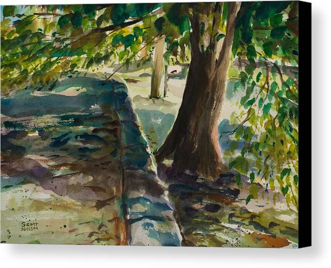 Watercolor Canvas Print featuring the painting Grafton Wall by Scott Nelson