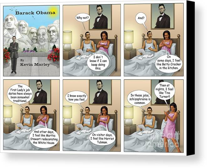 Barack Obama Canvas Print featuring the digital art Michelle's Crisis by Kevin Marley
