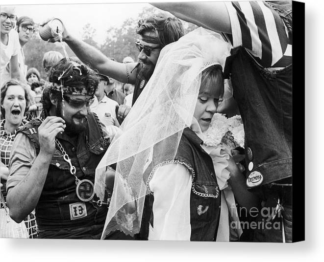1969 Canvas Print featuring the photograph Motorcycle Club Wedding by Granger