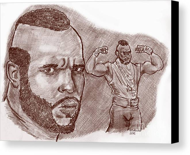 Canvas Print featuring the drawing Mr.t Pity The Fool by Chris DelVecchio