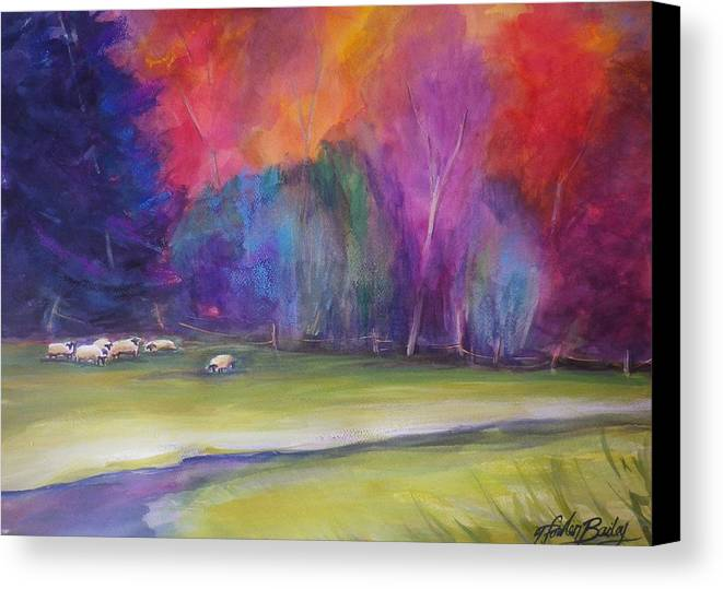 Pastoral Canvas Print featuring the painting Peaceful Pastoral Sheep by Therese Fowler-Bailey