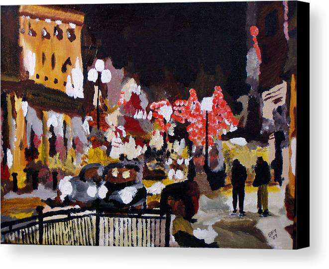 London Canvas Print featuring the painting Piccadilly Night by Steve Teets