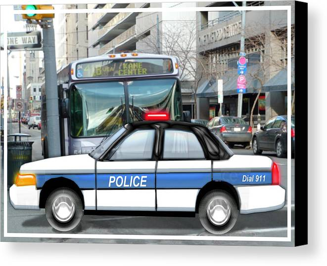Police Canvas Print featuring the painting Proud Police Car In The City by Elaine Plesser