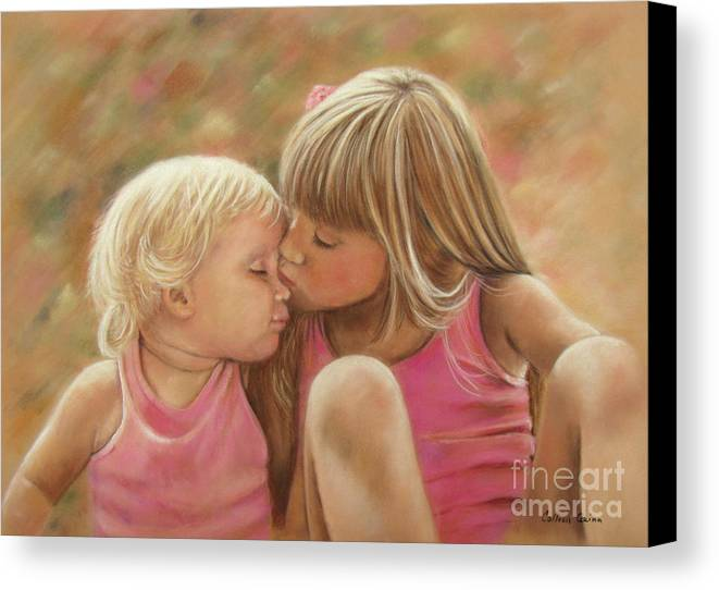 Sisters Canvas Print featuring the pastel Sisters by Colleen Quinn