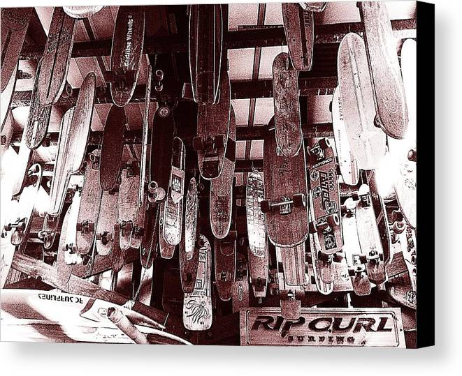Skateboards Canvas Print featuring the photograph Skate Shop by Jame Hayes