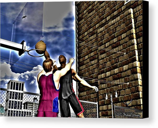 Basketball Canvas Print featuring the digital art Slammed by Michael Stowers