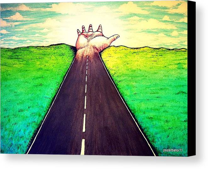 Those Who Walk The Way Canvas Print featuring the digital art Those Who Follow The Way by Paulo Zerbato