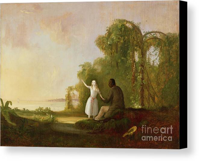 Uncle Canvas Print featuring the painting Uncle Tom And Little Eva by Robert Scott Duncanson