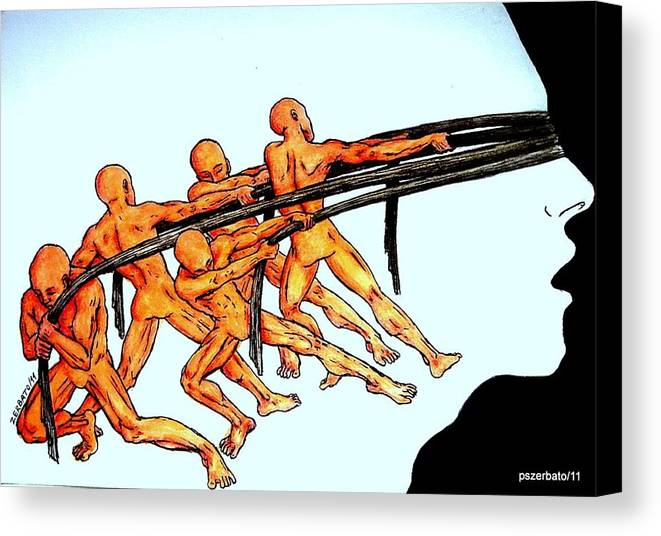 Modern Serfdom Canvas Print featuring the digital art Voluntary Blindness To The Real Truth by Paulo Zerbato