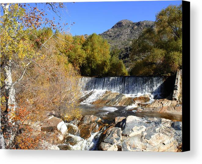 Mountains Canvas Print featuring the photograph Waterfall In The Desert by Meagan Suedkamp