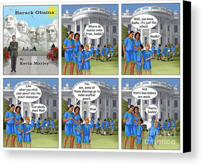 Barack Obama Canvas Print featuring the digital art Where Do Babies Come From by Kevin Marley