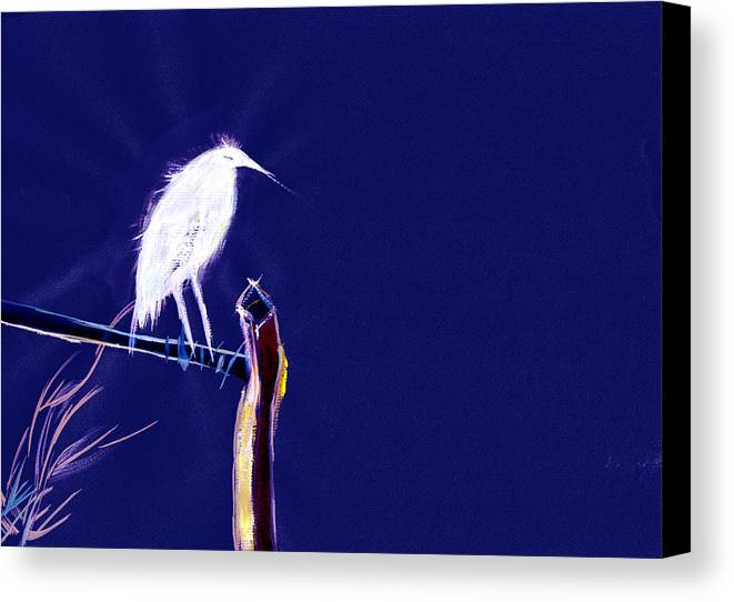 Bird Canvas Print featuring the painting White Egret by Anil Nene