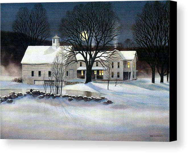 Winter Canvas Print featuring the painting Winter Glow by Karol Wyckoff