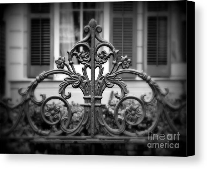 Fence Canvas Print featuring the photograph Wrought Iron Detail by Perry Webster
