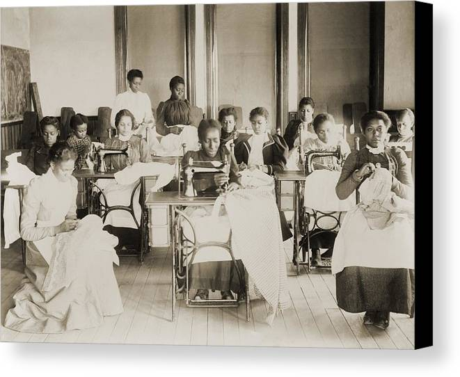 History Canvas Print featuring the photograph Young African American Women Sewing by Everett