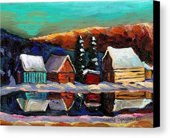 Quebec Winter Landscape Canvas Print featuring the painting Laurentian Landscape Quebec Winter Scene by Carole Spandau