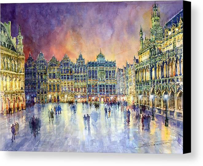 Watercolor Canvas Print featuring the painting Belgium Brussel Grand Place Grote Markt by Yuriy Shevchuk