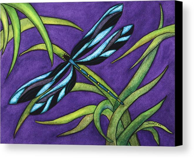 Watercolor Canvas Print featuring the painting Dragonfly by Stephanie Jolley