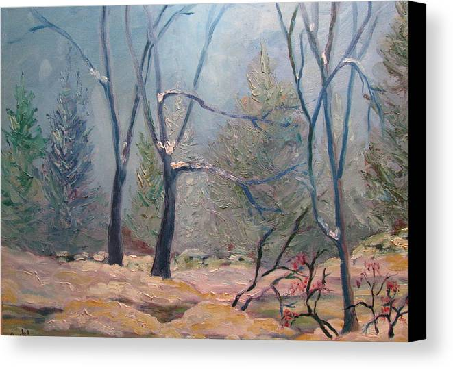 Forest Canvas Print featuring the painting Forest At Twilight by Belinda Consten