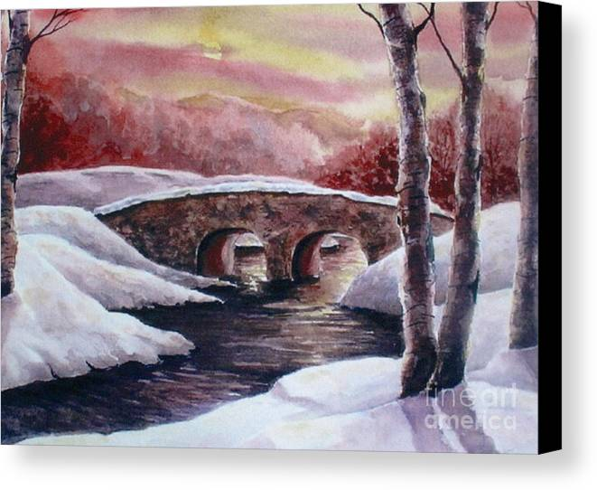 Landscapes Canvas Print featuring the painting Moonlight Crossing by Suzanne Krueger
