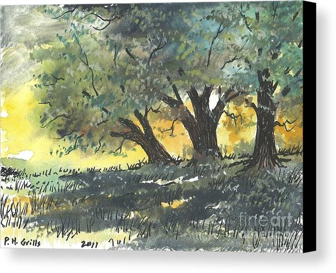 Trees Canvas Print featuring the painting Old Oaks by Patrick Grills