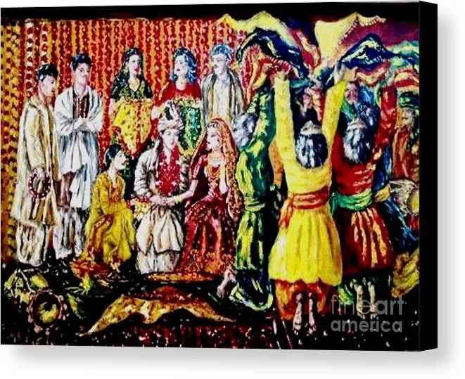 Oil Painting Canvas Print featuring the painting Pakistani Wedding by Fareeha Khawaja
