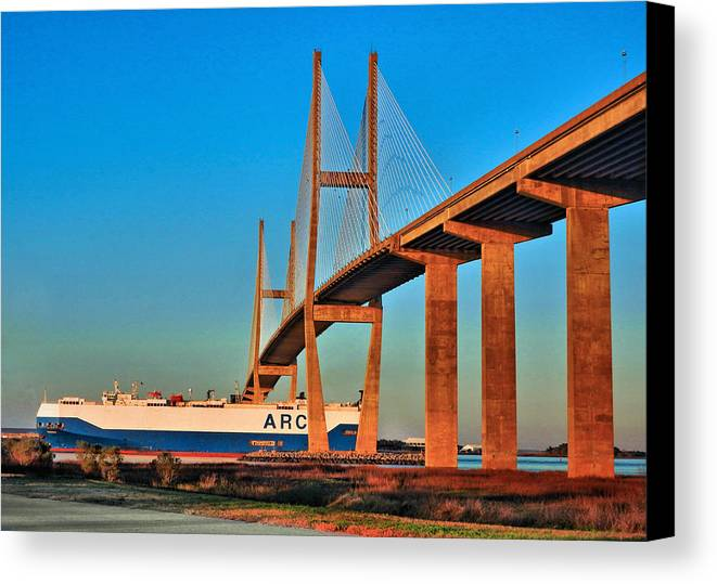 Port Of Brunswick Canvas Print featuring the photograph Port Traffic by Laura Ragland