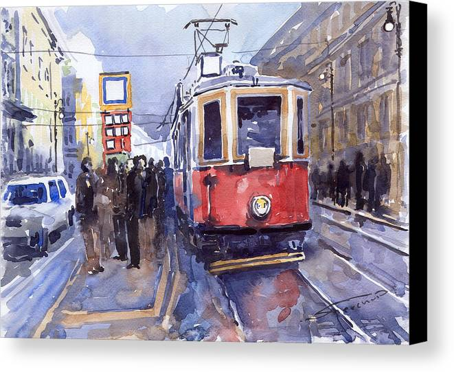Cityscape Canvas Print featuring the painting Prague Old Tram 03 by Yuriy Shevchuk