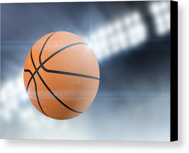 Basketball Canvas Print featuring the digital art Ball Flying Through The Air by Allan Swart