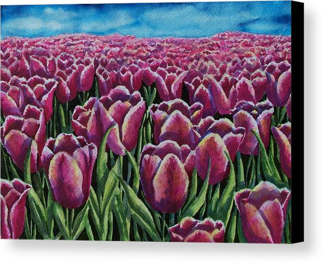 Tulips Canvas Print featuring the painting 1000 Tulpis by Conni Reinecke