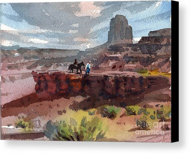Navajo Canvas Print featuring the painting Father And Son by Donald Maier