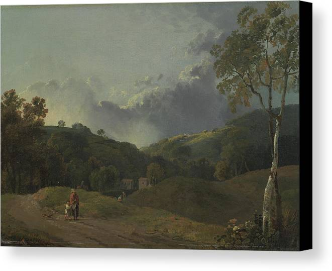 George Barret Ra Canvas Print featuring the painting Landscape With Cottagers by George Barret