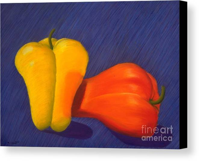 Vegetable Canvas Print featuring the painting 2 Peppers by Mary Erbert