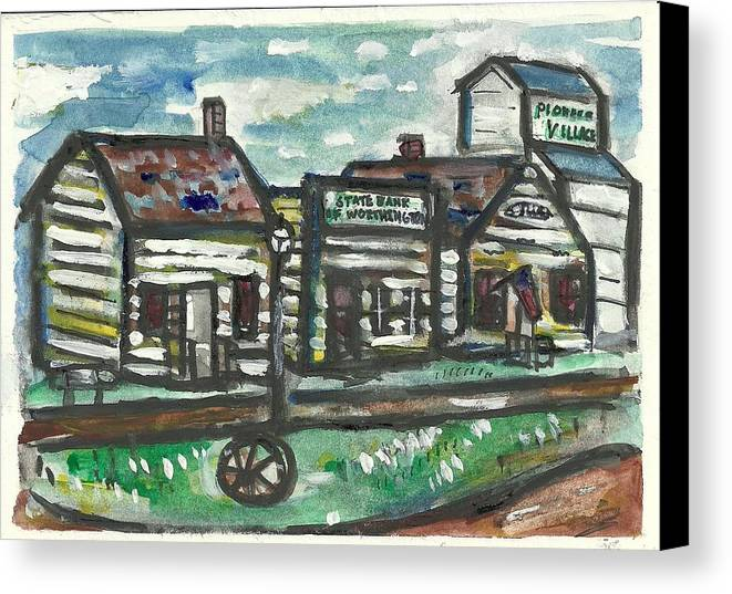 Historic Canvas Print featuring the painting Pioneer Village by Matt Gaudian
