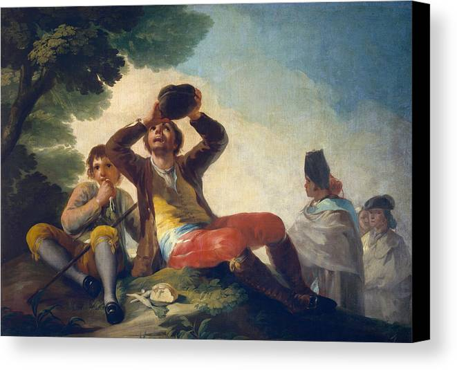 Child Canvas Print featuring the painting The Drinker by Francisco Goya