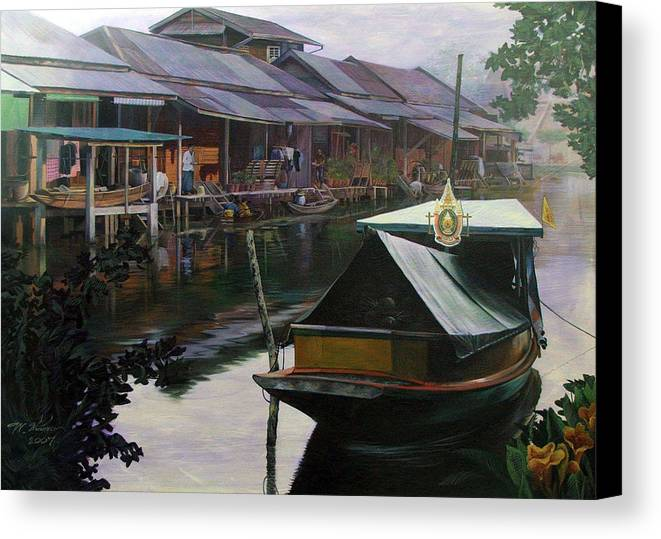 Acrylic Canvas Print featuring the painting Untitled by Chonkhet Phanwichien