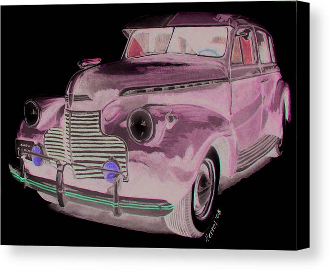 Chevy Canvas Print featuring the painting 41 Chevy by Ferrel Cordle