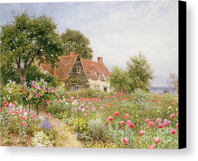 The Cottar's Pride Canvas Print featuring the painting A Cottage Garden by Henry Sutton Palmer
