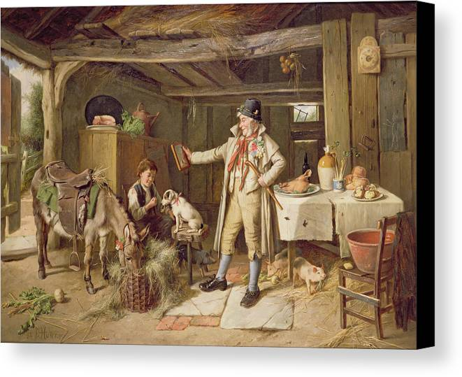 Vanity; Mirror; Walking Stick; Button Hole; Pigs; Pony; Interior; Cottage; Dog; Boy; Bacon; Ham; Pok; Turnip; Hay; Clock; Rustic; Pipe; Indoor; Donkey Canvas Print featuring the painting A Fine Attire by Charles Hunt