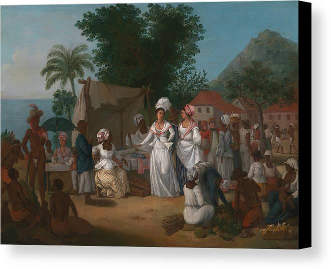 Italian Painters Canvas Print featuring the painting A Linen Market With A Linen-stall And Vegetable Seller In The West Indies by Agostino Brunias