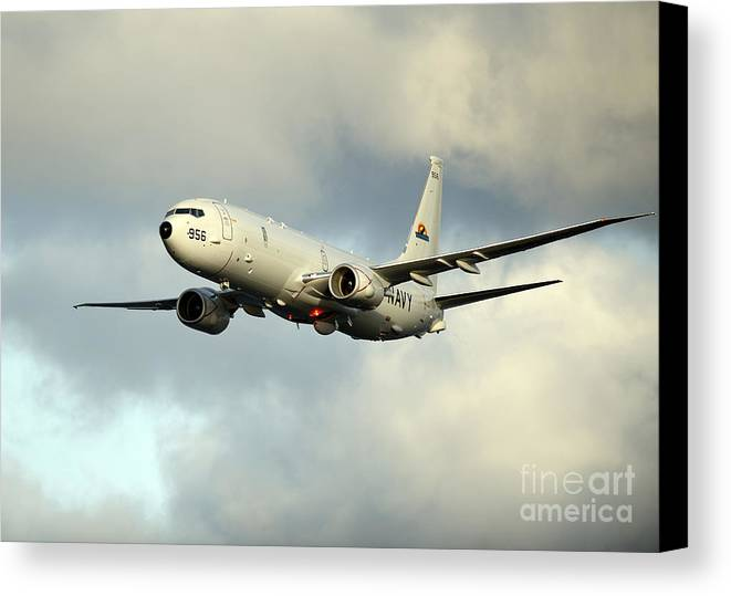 Exercise Bold Alligator Canvas Print featuring the photograph A P-8a Poseidon In Flight by Stocktrek Images