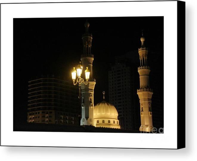 Al Qasba Mosque Canvas Print featuring the photograph Al Qasba Mosque by Hussein Kefel