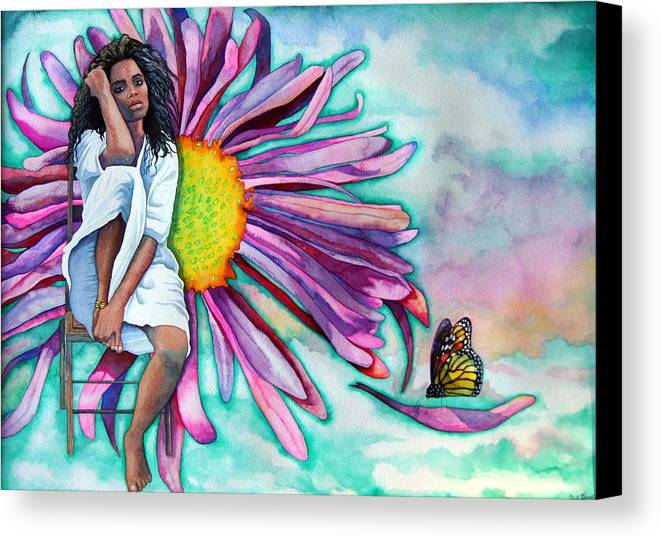 Woman/flower/surrealism Canvas Print featuring the painting Alone by Gail Zavala