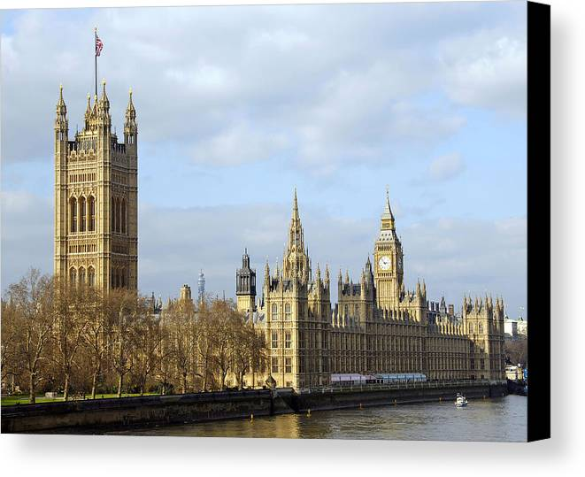 London Canvas Print featuring the photograph Along The Thames by Stephen Anderson