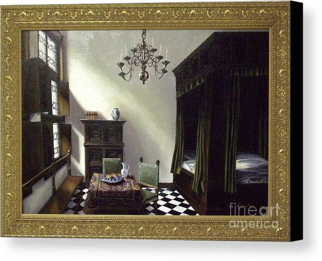 Canvas Print featuring the painting 'antwerp Morning' by Linda Sosangelis