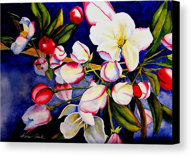Apple Blossoms Canvas Print featuring the painting Apple Blossom Time by Karen Stark