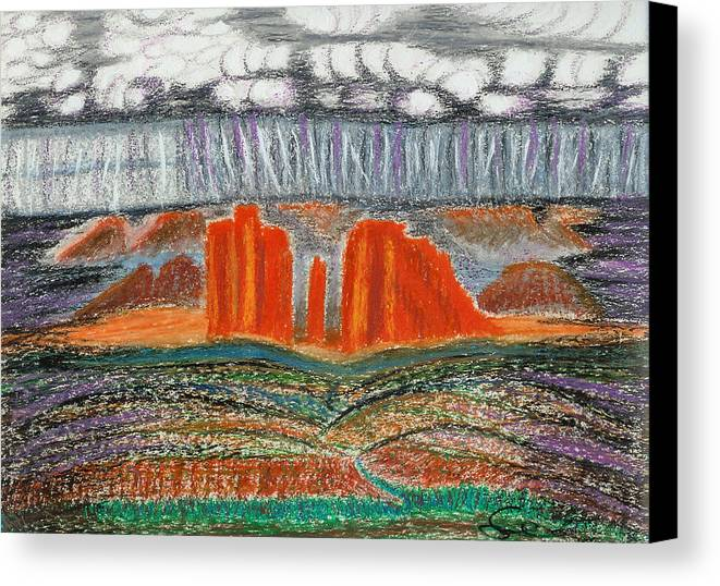 Red Rocks Canvas Print featuring the drawing Arizona Rain by Ingrid Szabo