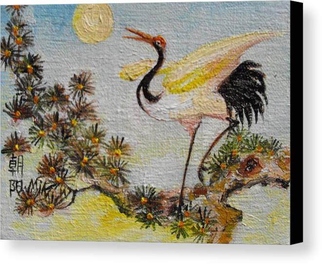 Asian Canvas Print featuring the painting Asian Crane 3 by Min Wang